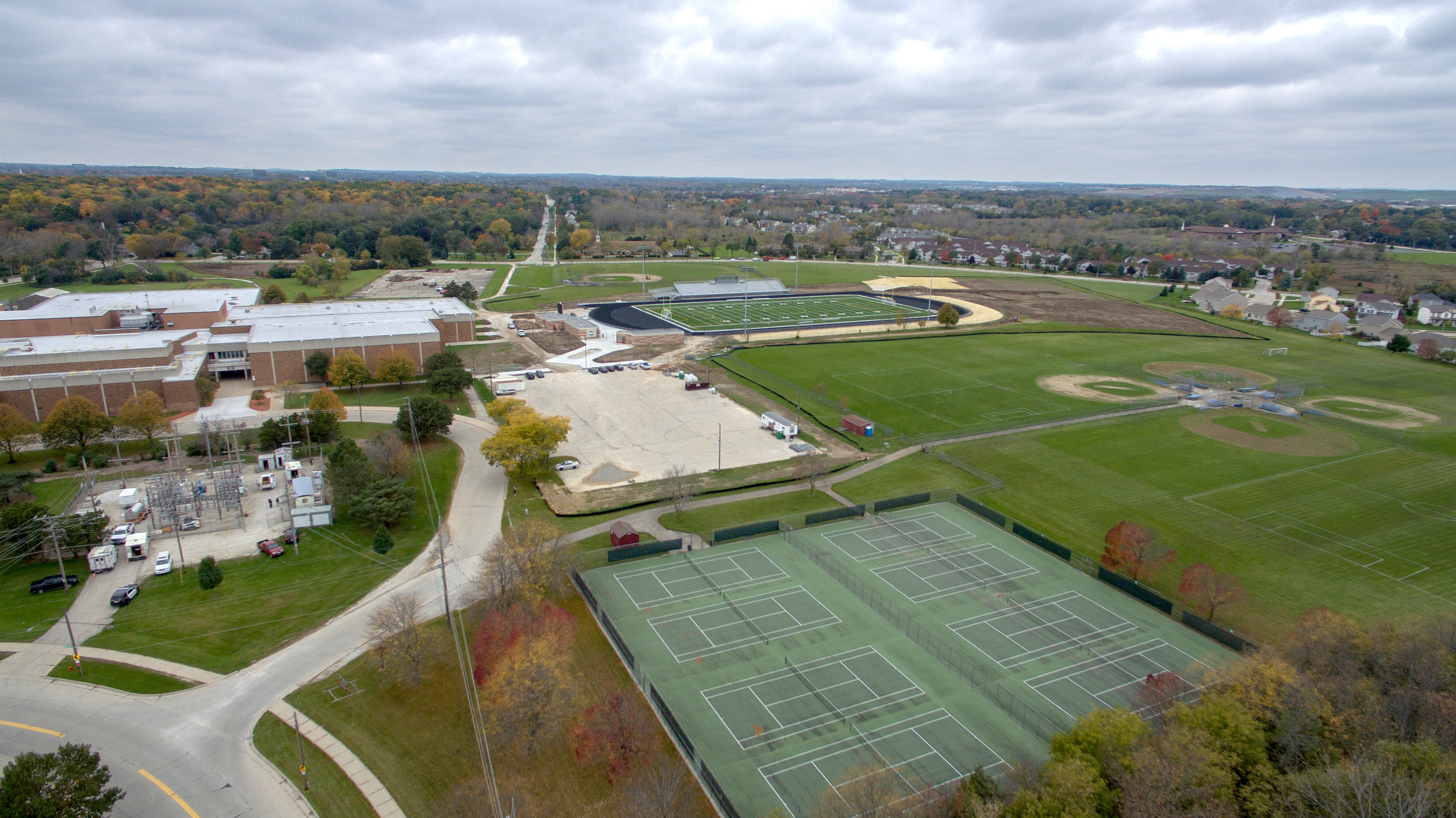 Aerial view of the Vincent High School campus in 2018. Reflo drone photo by Michael Snowden
