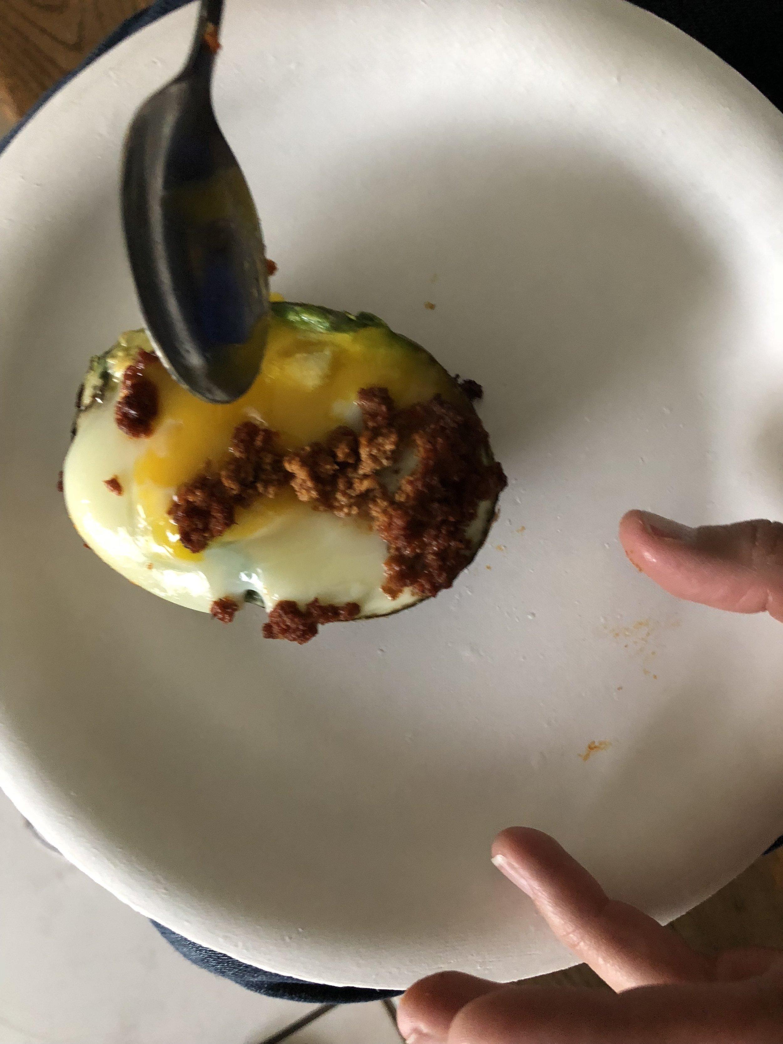 Avocado Baked Egg w/ Chorizo