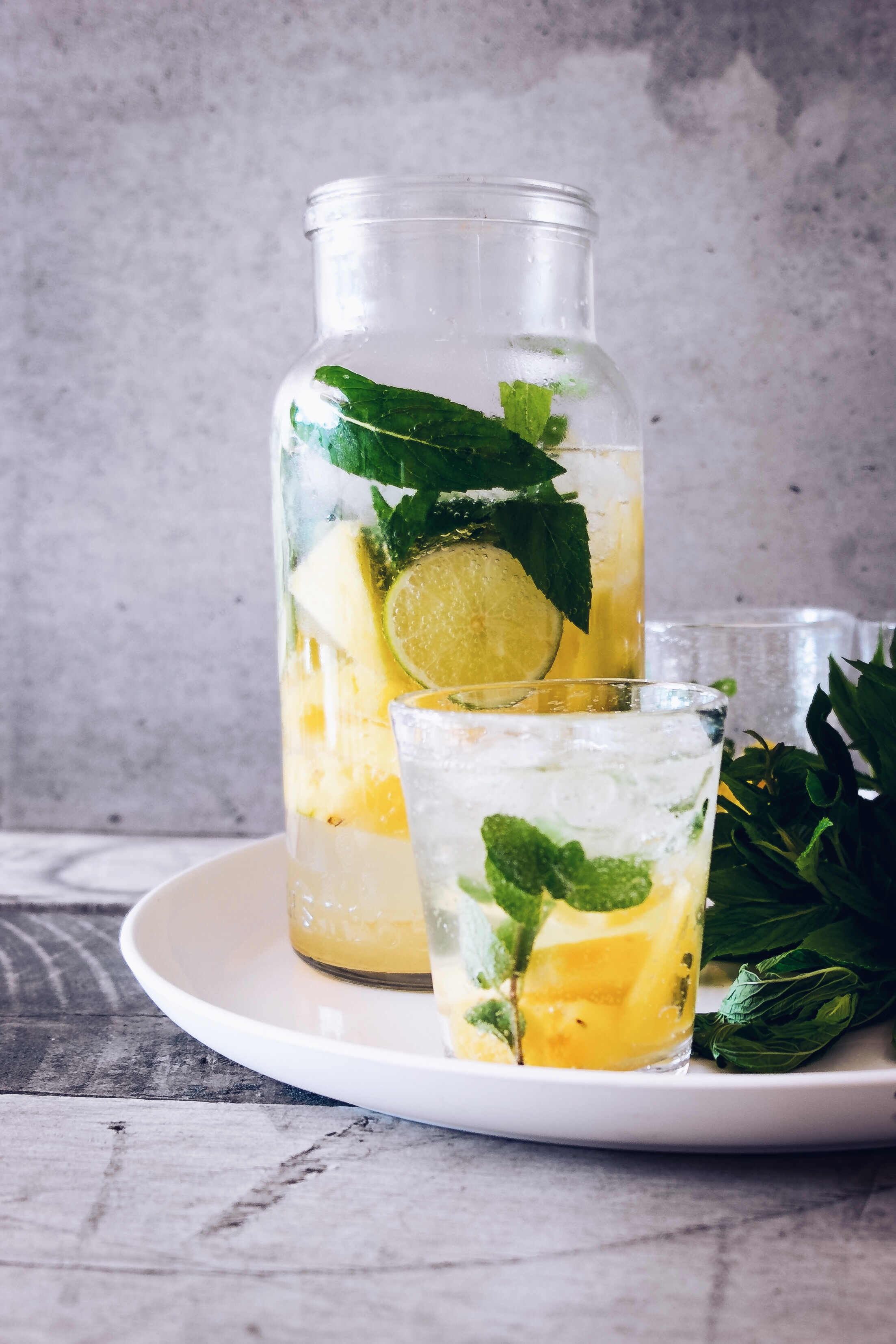 Lemon mint water in glass