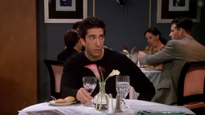 Poor Ross got stood-up purposely when Phoebe and Joey tried to get him back together with Rachel.