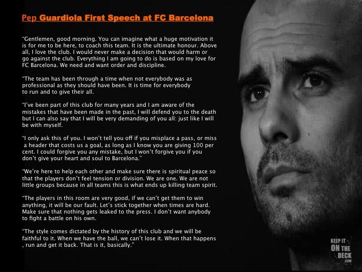 Pep Guardiola - Team Culture Story — Keepitonthedeck
