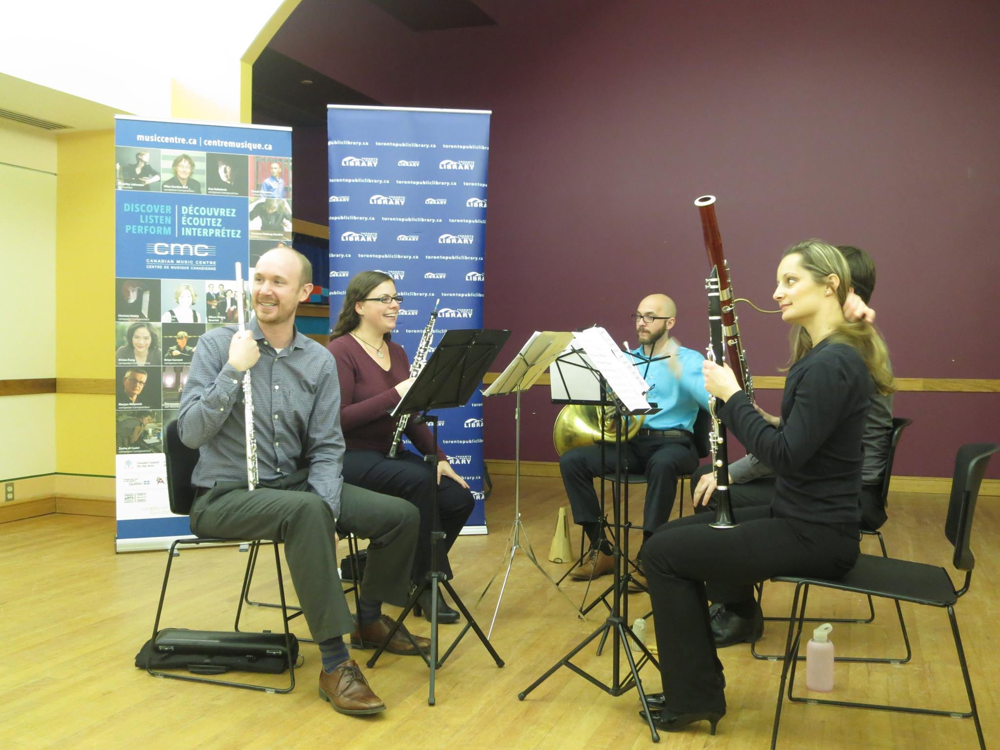 Blythwood Winds perform for New Music 101 at Lillian H. Smith Public Library in Toronto, 2015.