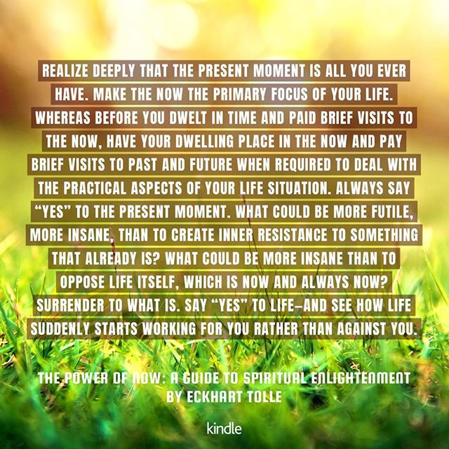 "I'll try not to make my whole ig account into a ""chicken soup for the soul"" sort of thing, but I dig this kindle feature, and you can't go wrong with some #thepowerofnow quotes! #now #eckharttolle #presentmoment"