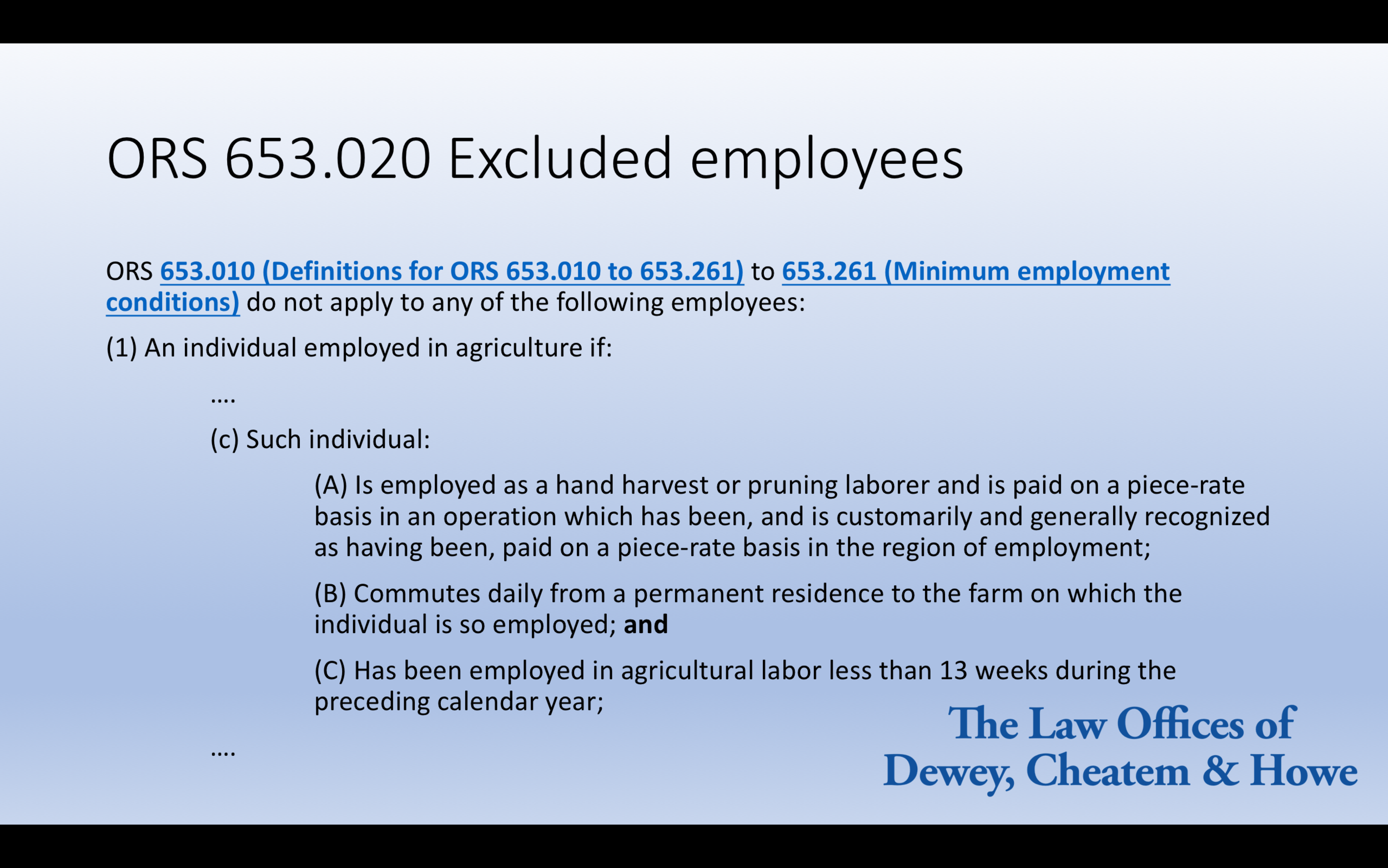 Putting an excerpt of a statute on the above slide is not an effective use of PowerPoint. There is too much text on the slide, the size of the text is too small, and the firm logo and gradient background add unnecessary visual clutter.