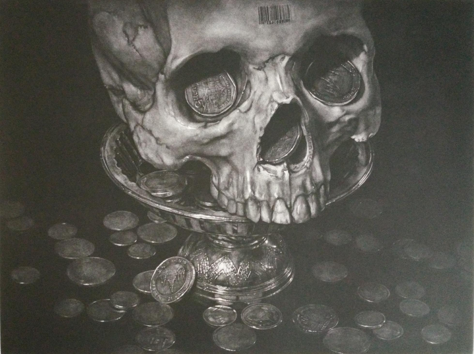 Title: Price of Life (Black Lilac Edition)   Year: 2018  Size: 45x54 cm  Technique: Mezzotint  Edition: of 25