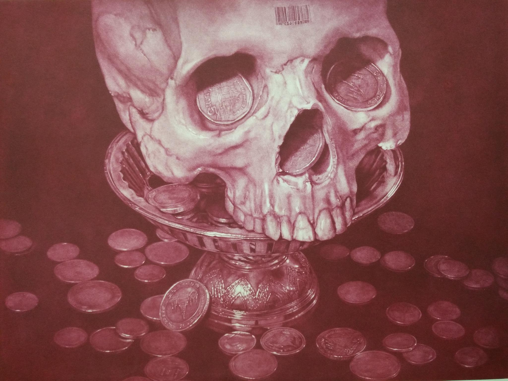 Title: Price of Life (Magenta Edition)   Year: 2018  Size: 45x54 cm  Technique: Mezzotint  Edition: of 25