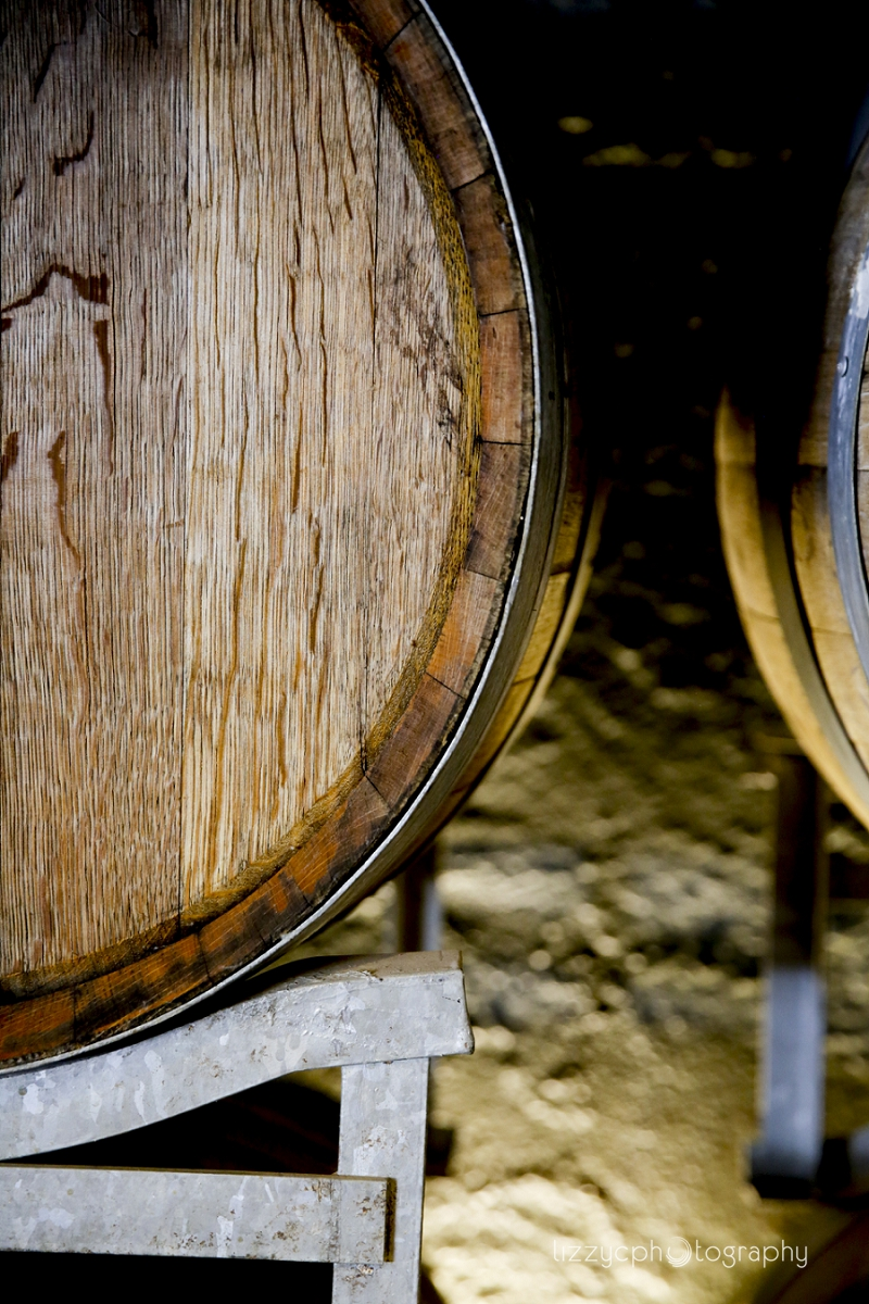 Wine barrels from local vignerons of the region in The Barrel Room at The Epicurean Red Hill
