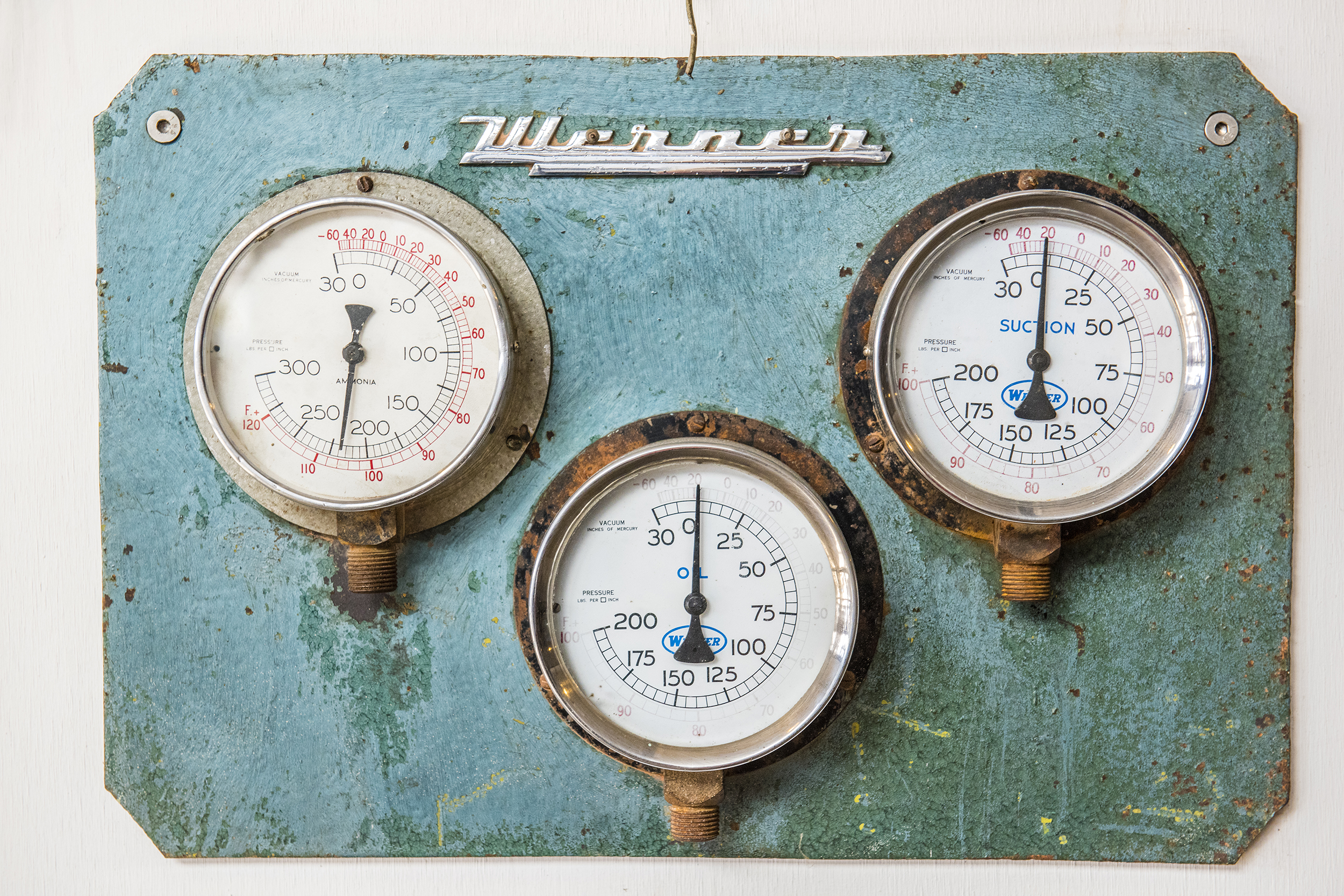 Original gauges in The Shed at The Epicurean Red Hill