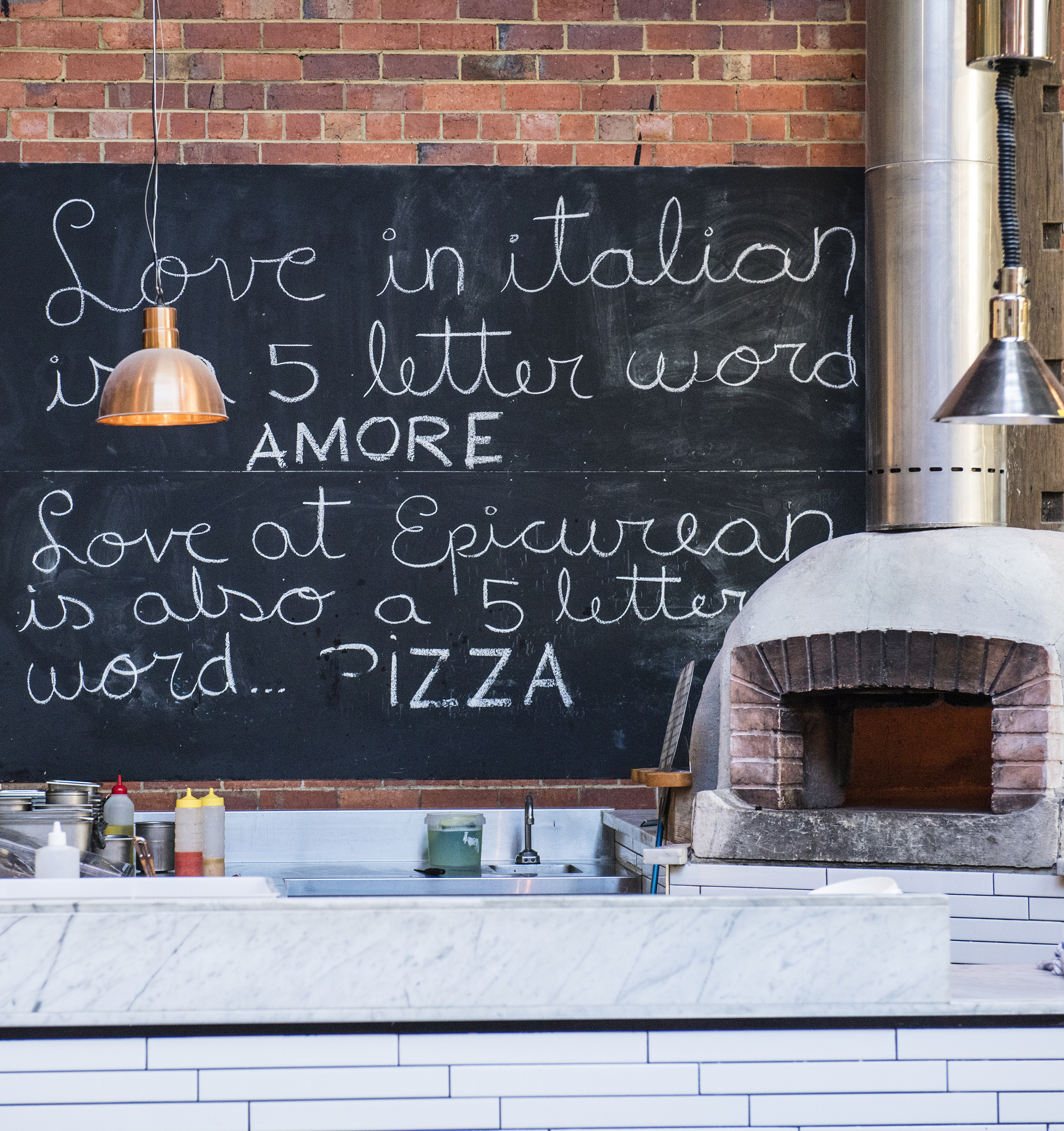 Traditional wood fired pizza oven in The Shed at The Epicurean Red Hill