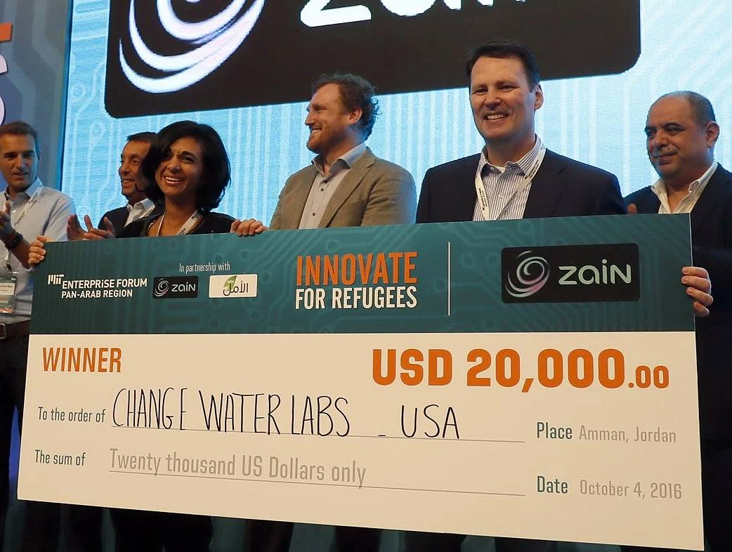 "MENA Herald OCT 2016   change:WATER Labs selected as 1st place winner at the MIT Enterprise Forum PanArab Innovation for Refugees Challenge   The team was awarded $20,000 at the MIT EF PanArab ""Innovate for Refugees"" competition in Jordan."