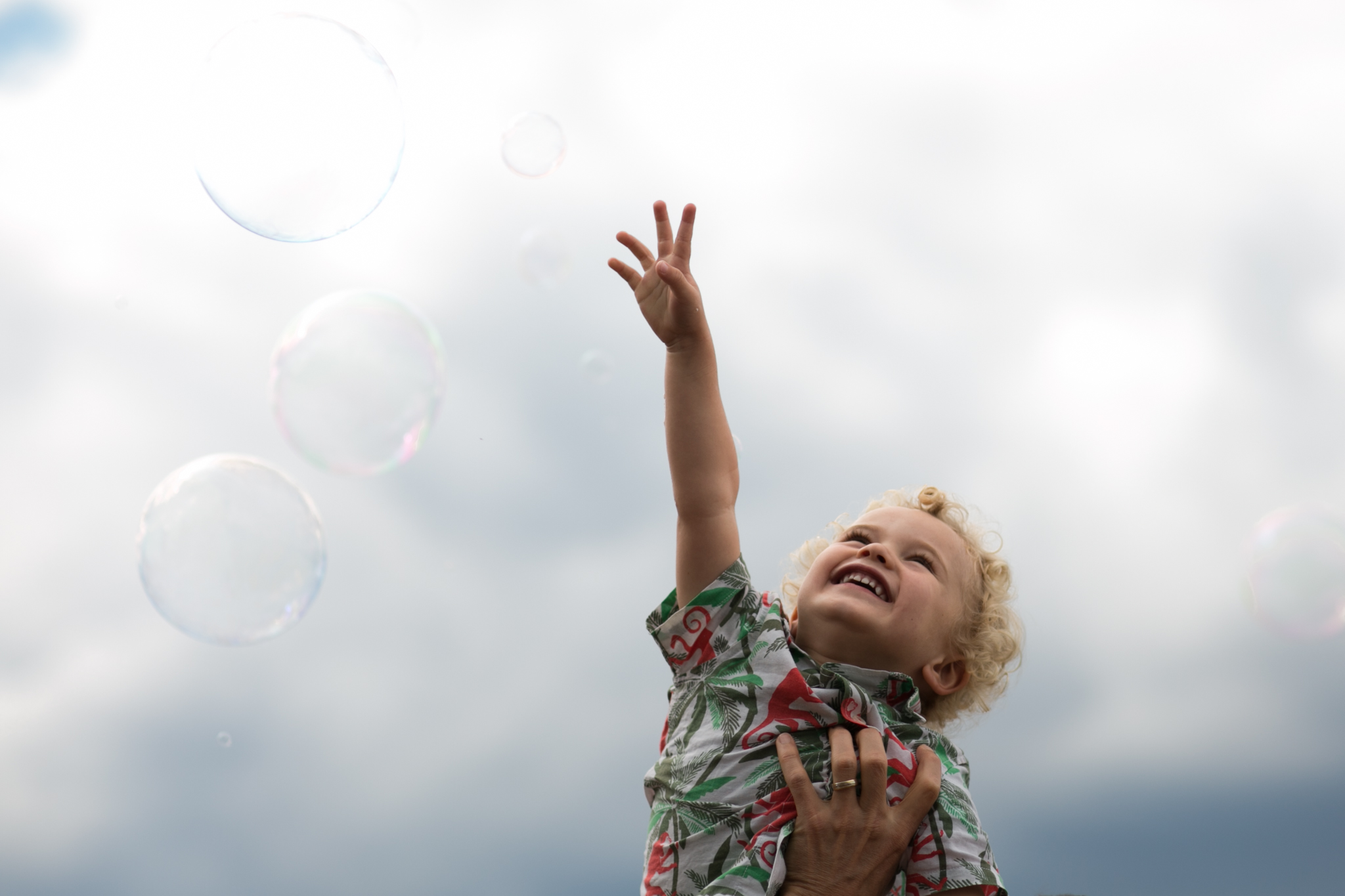 Catching bubbles on Southbank