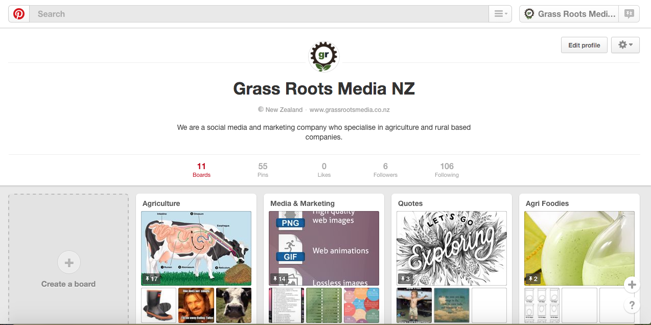 Check out the Grass Roots Media NZ Pinterest account  here !
