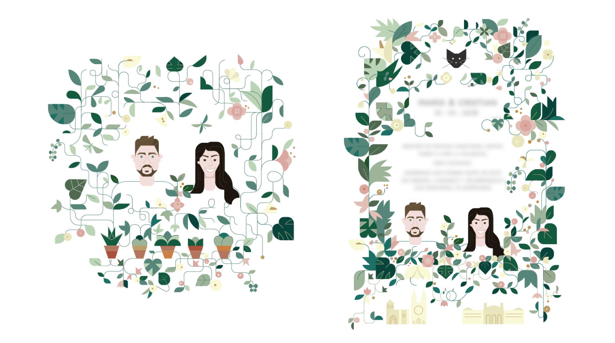 invitacion, boda, pareja, plantas, flores, flowers.png