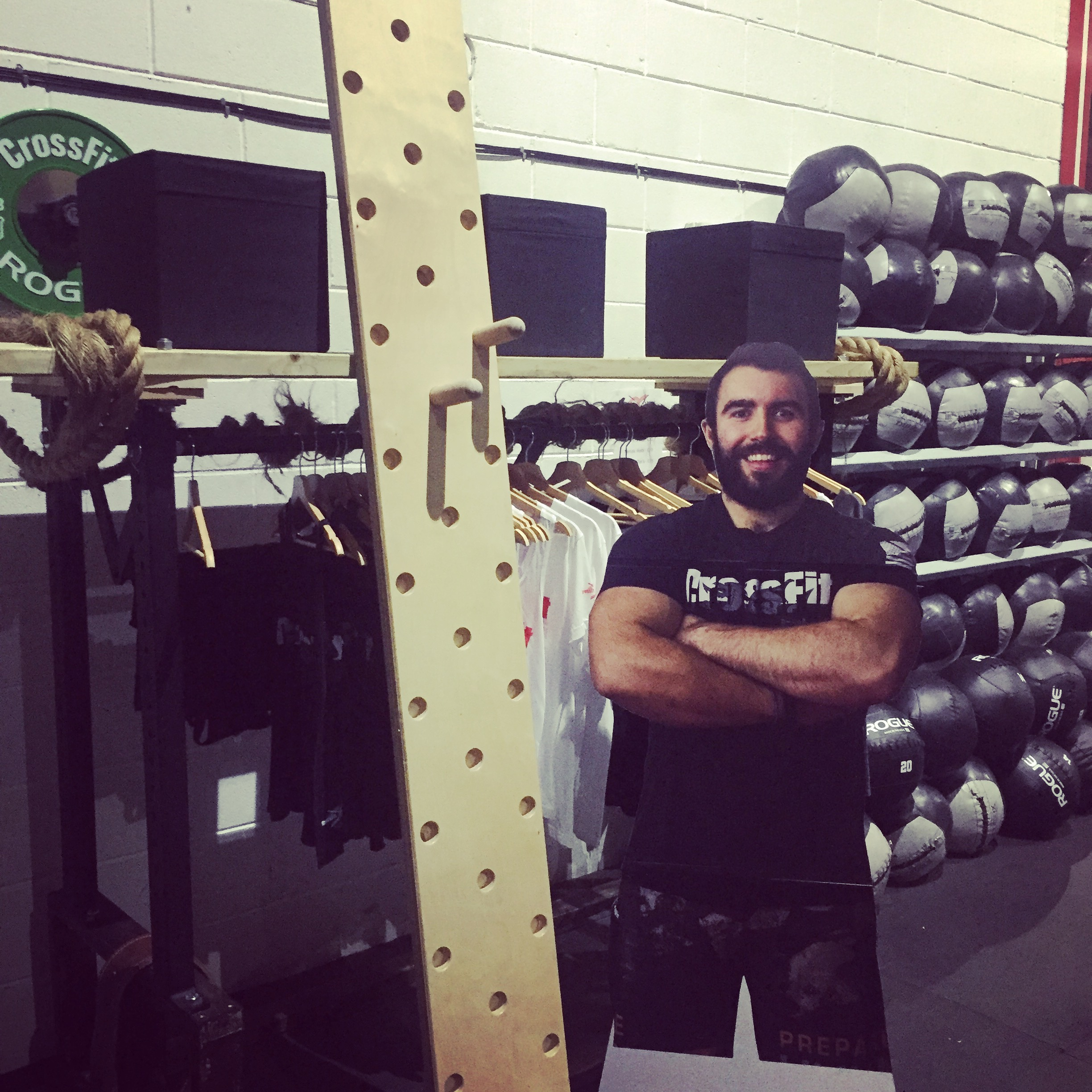 The secret of the bicep girth...photographic enlargement and pegboards!