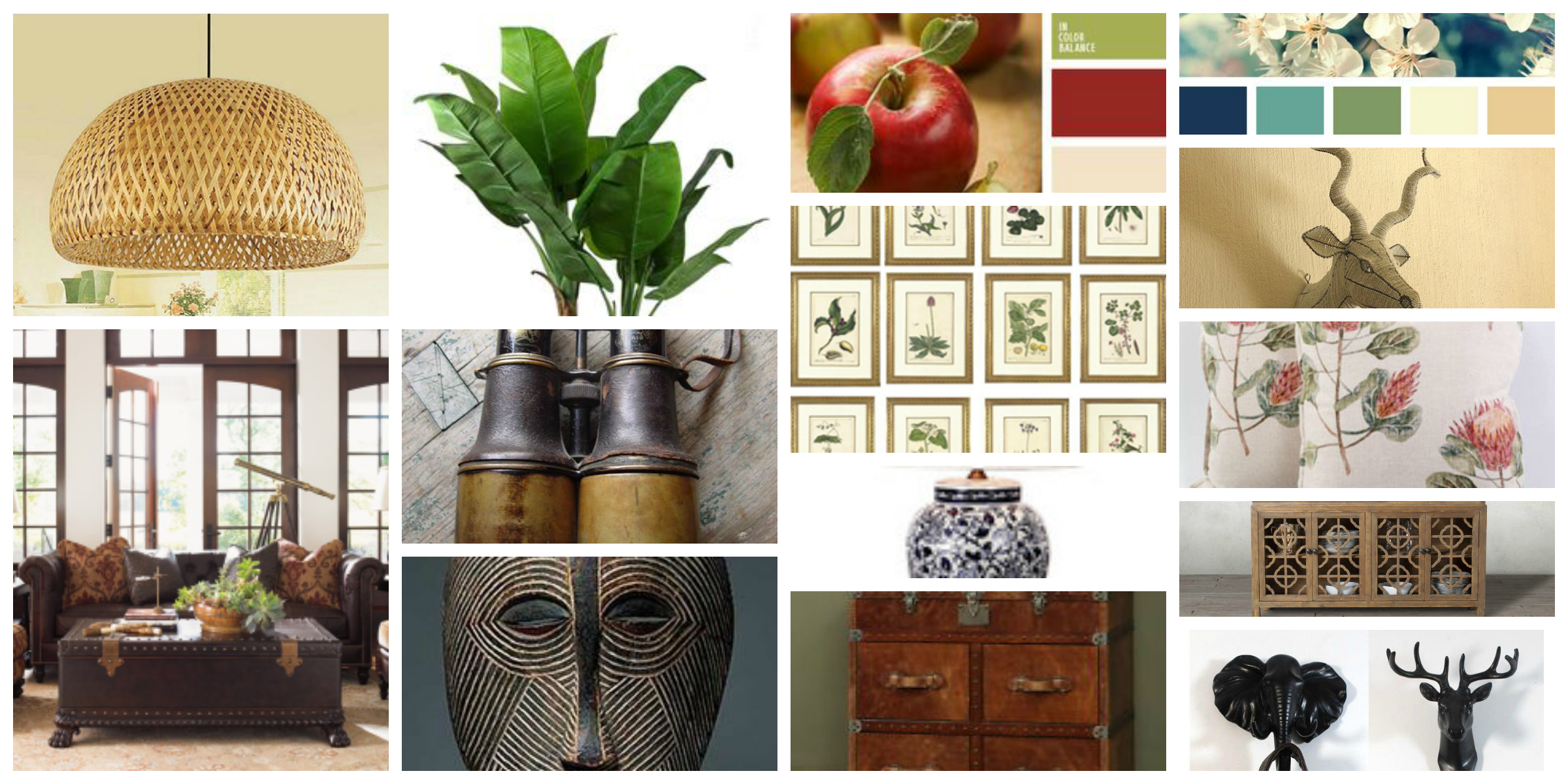 African Colonial Mood board, red, green, blue, yellow