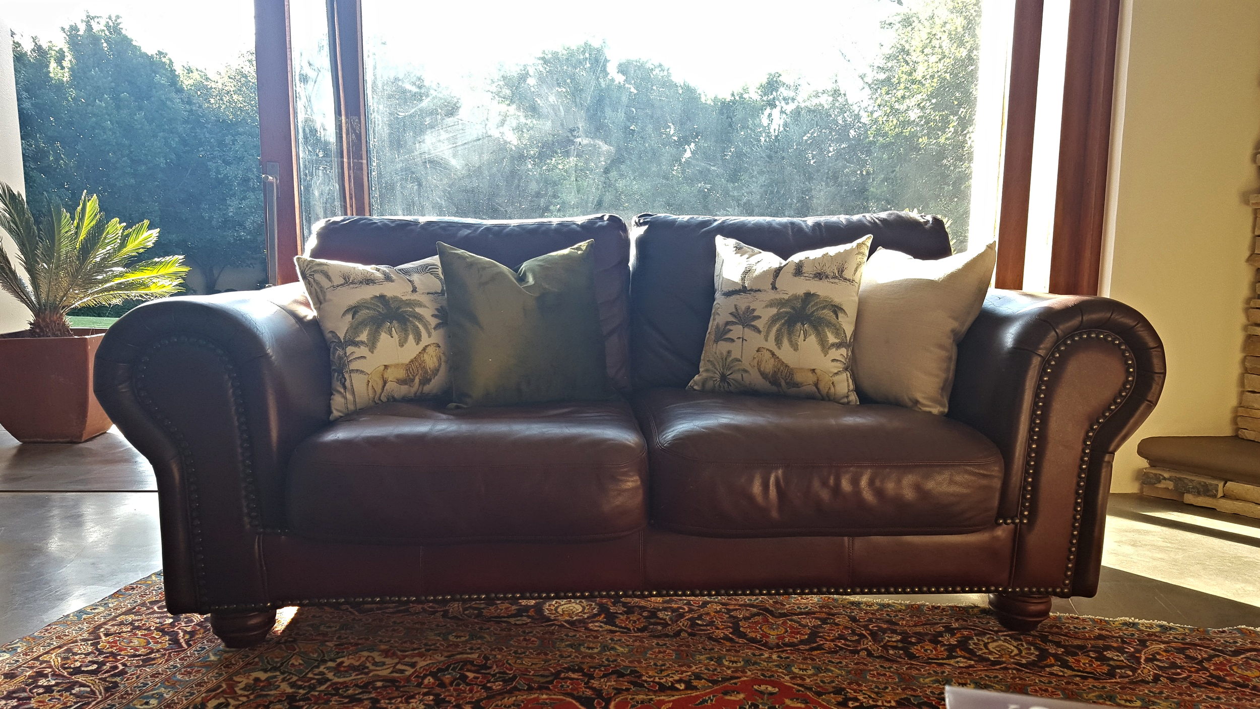 Leather couch with linen scatter cushions