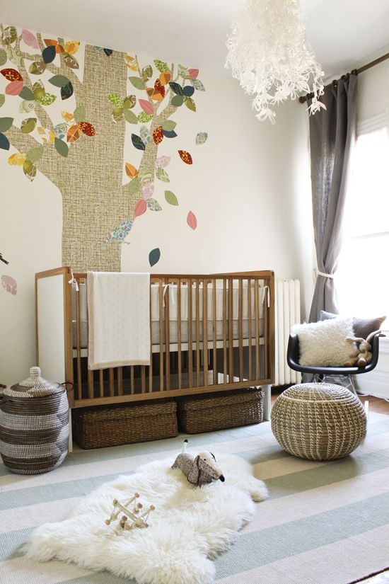 Neutral Forest Themed Baby Room