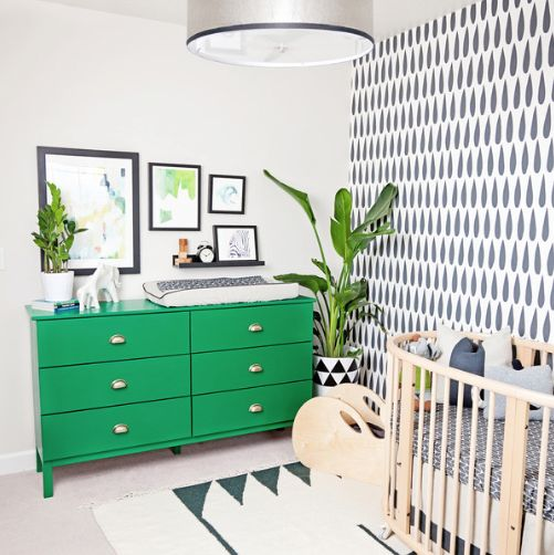 Dramatic Green and Black Baby Room