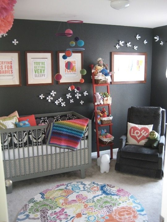 Dark Grey Nursery with Many Colours