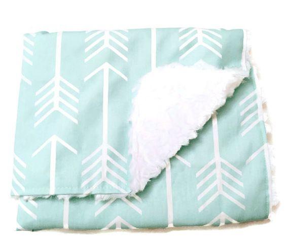 Minty Arrow Baby Blanket