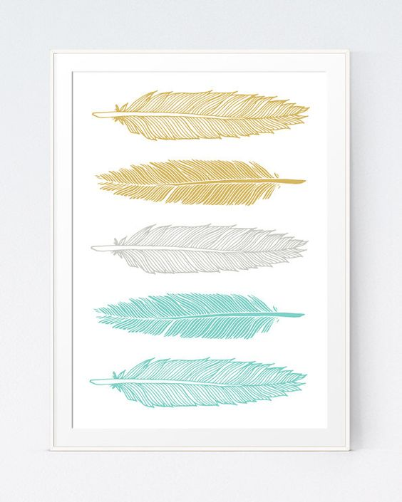 Ochre Yellow and Minty Feather Print