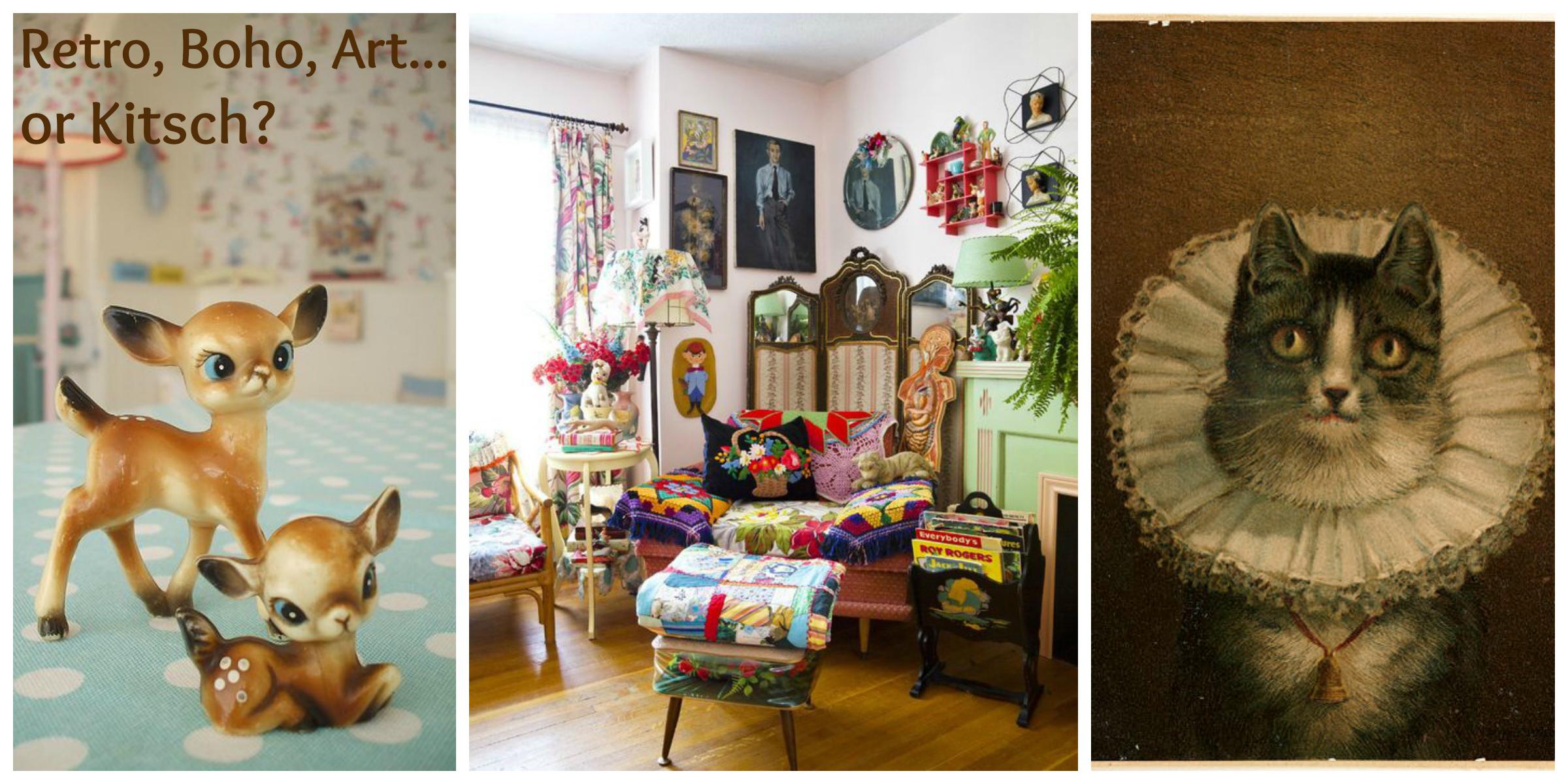 Boho, Retro, Art or Kitsch. Porcelain deer. Boho Lounge. Cat painting