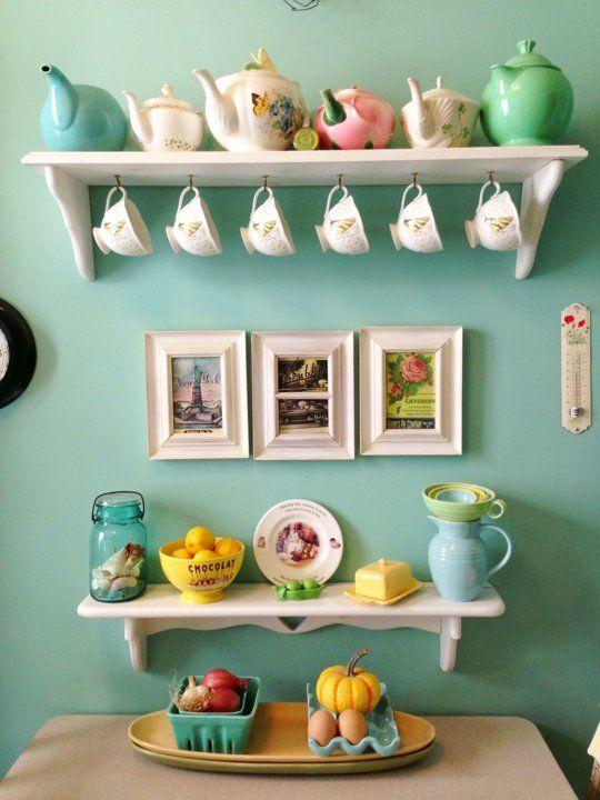vintage tea cups and pots, tea station, turquoise