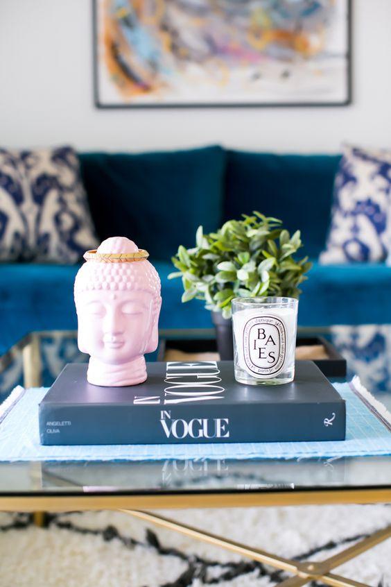 Pink buddah in stylish Lounge