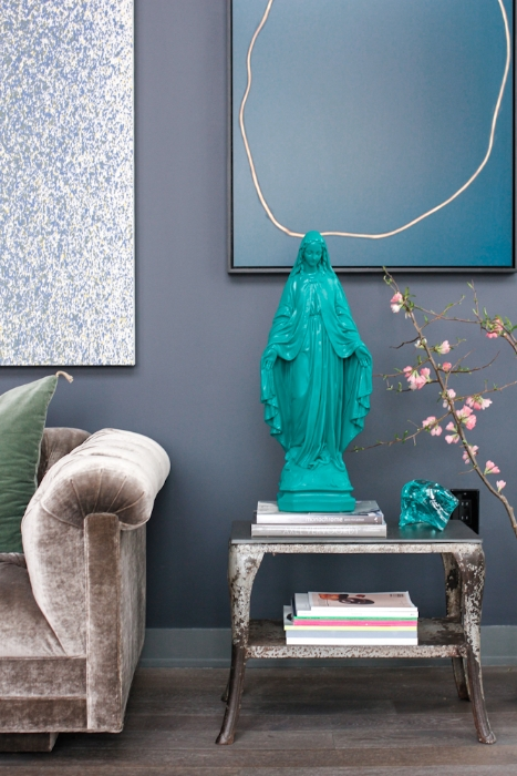 Beautiful turquoise virgin Mary statue