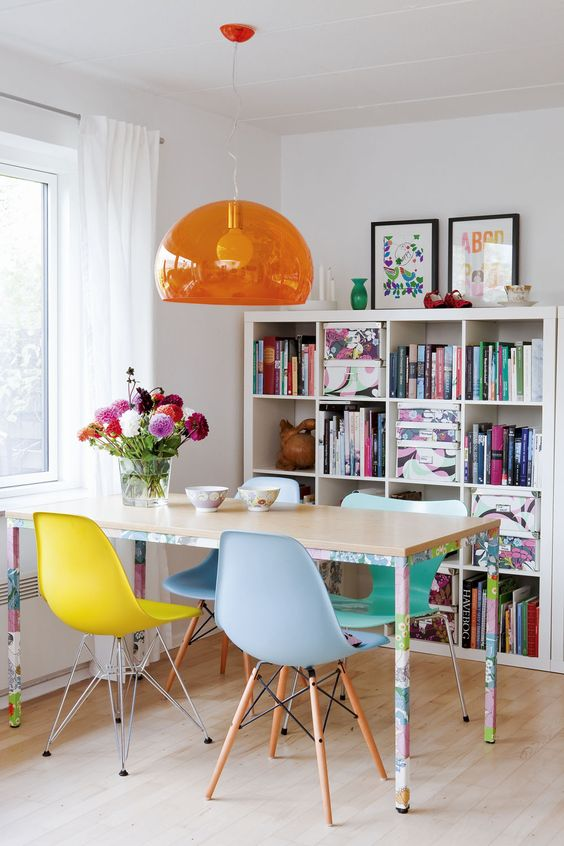 Brightly coloured retro dining room