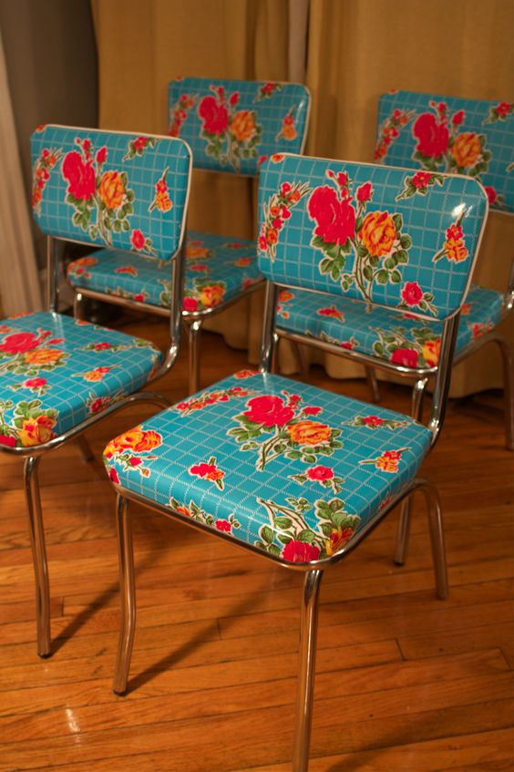 These chairs covered in floral plastic...