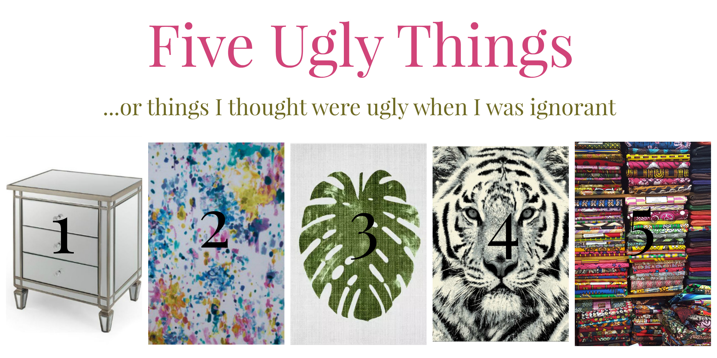 five things i thought were ugly decor tiger mirrored cabinet, floral print, green, delicious monster, african dutch wax prints