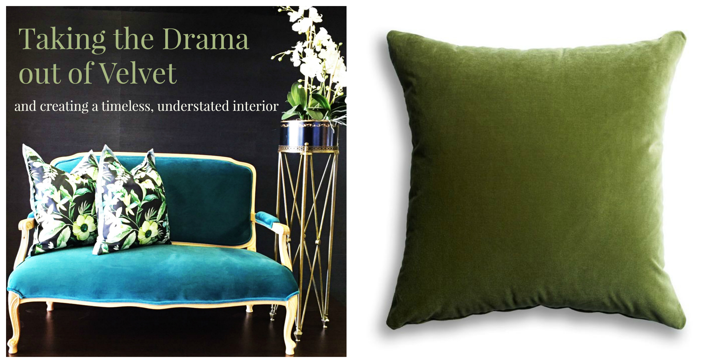 Sofa upholstered in U&G Fabrics' Legacy and a green velvet scatter with feather inner from the   Tassels & Tigers decor collection.