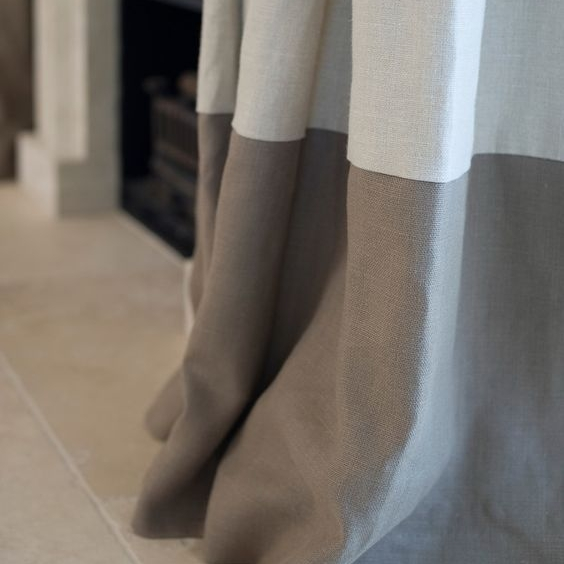 Another one of our favourite trends at the moment  is a contrasting two-tone curtain .