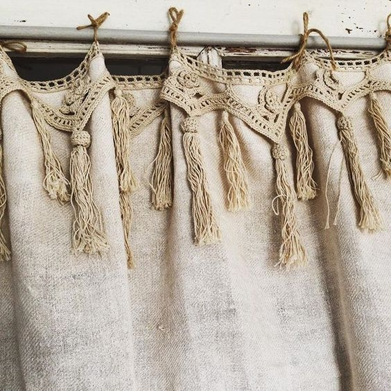 At Tassels & Tigers we obviously love the lace tassel trim on these rustic linen curtains!