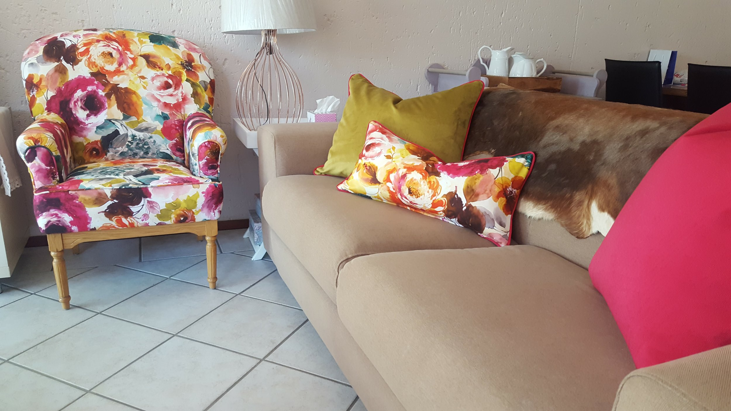 Floral and brightly coloured lounge makeover