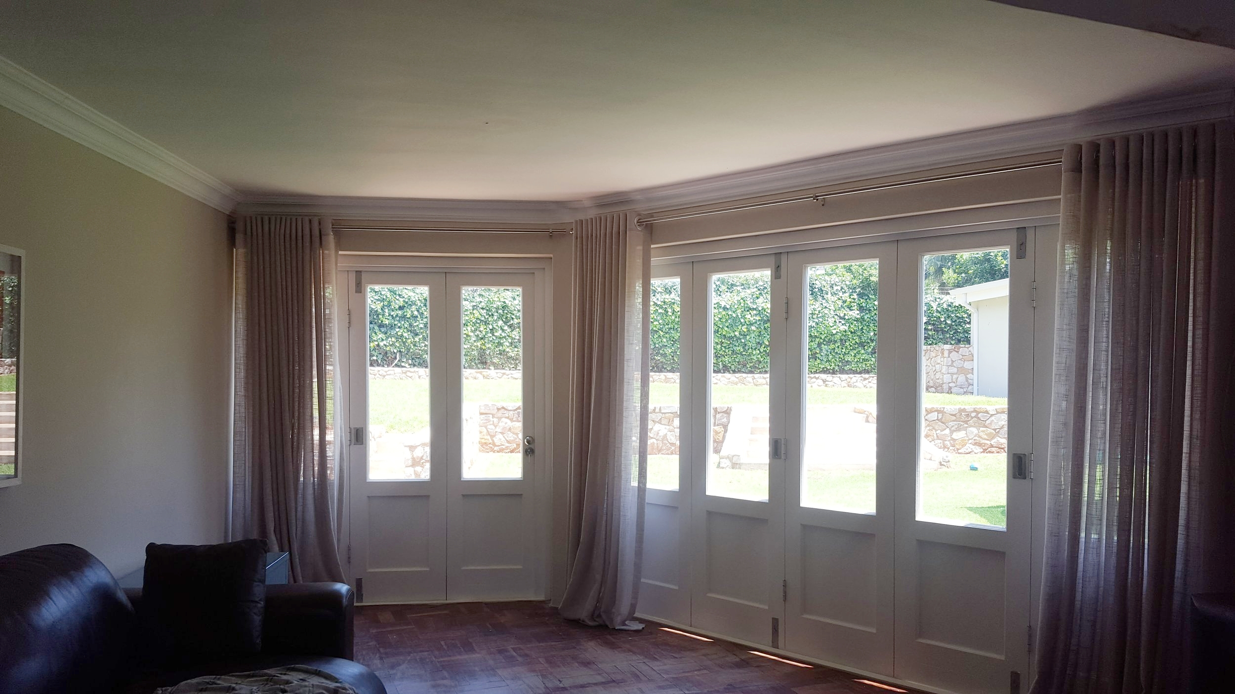 The soft, natural looking sheer curtains we installed in the living room.