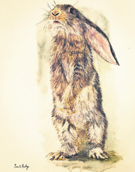 Emma-Lee Rawlings watercolour painting of a rabbit like Beatrix Potter is perfect for a baby room and nursery decor design