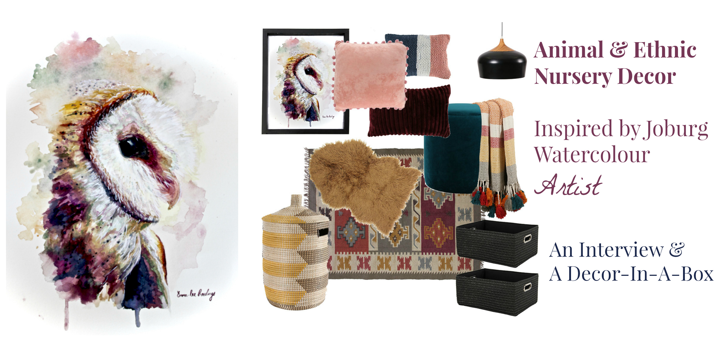 Animal and Ethnic Watercolour inspired baby room design by Tassels & Tigers Interiors