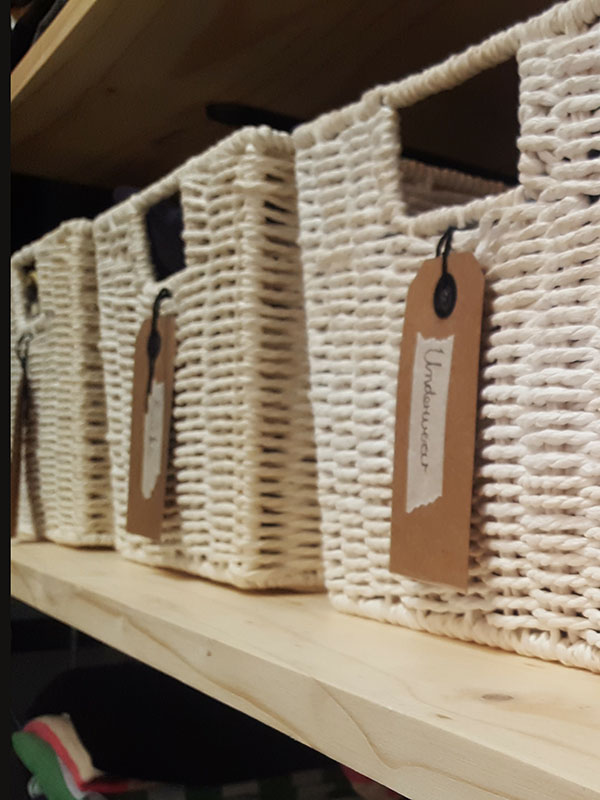 Baskets make it easy to keep your cupboard tidy