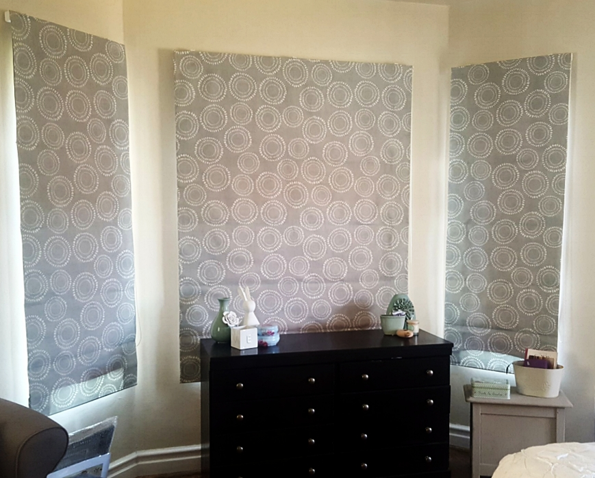 Bay Window with duckegg window treatments, Roman blinds, by Tassels & Tigers Interiors