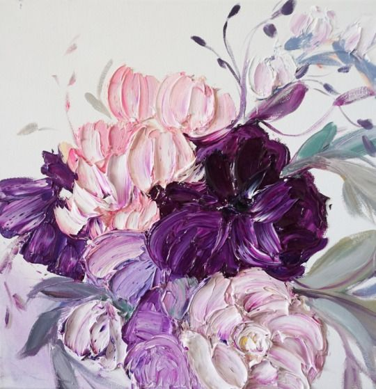 warm floral impasto artwork