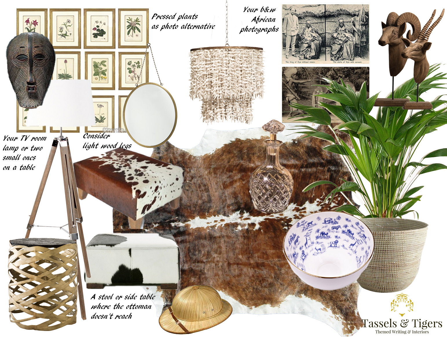 An actual example of a Decor-In-A-Box Design Board by interior designer and interior decorator at Tassels & Tigers Interiors in Johannesburg and South Africa