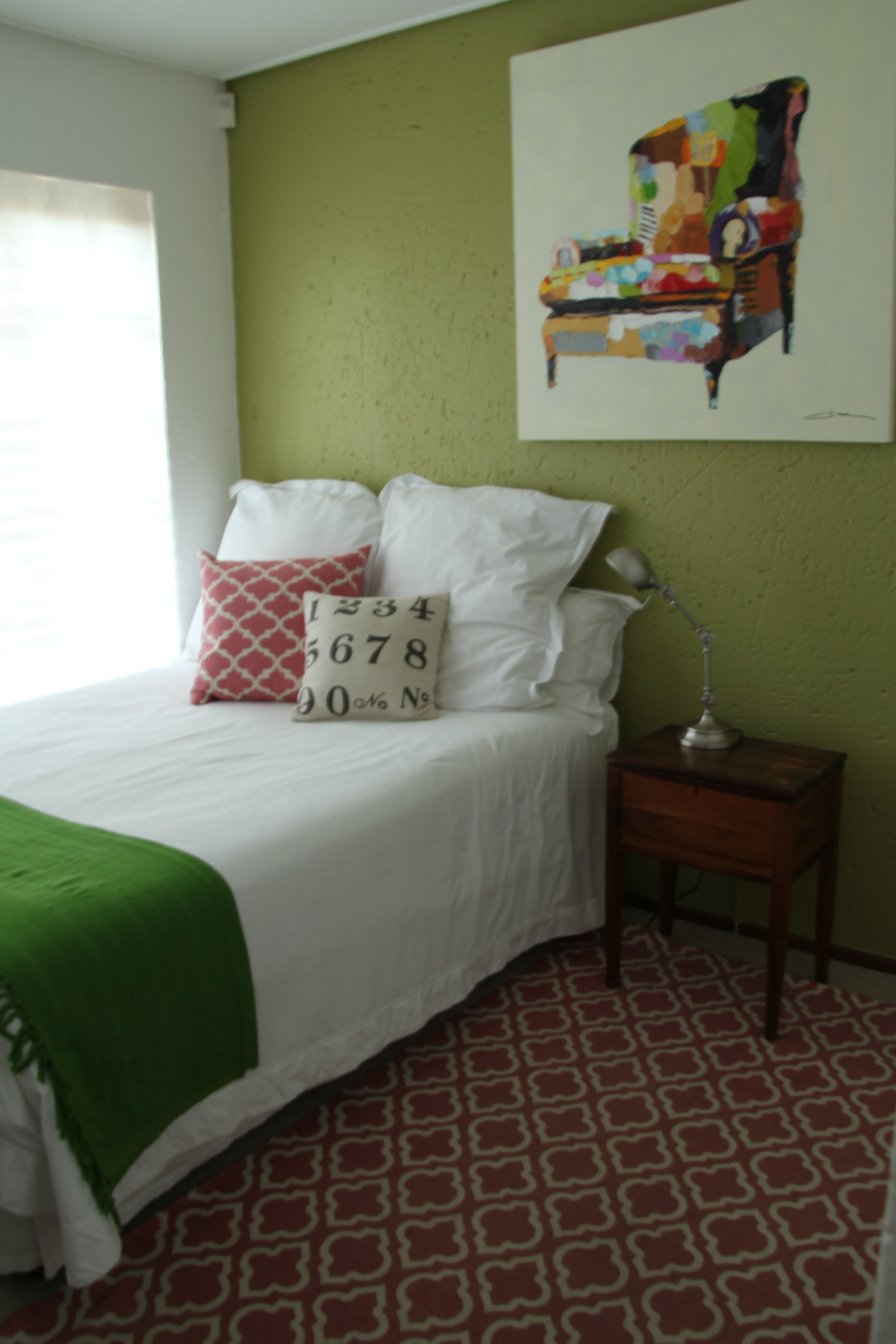 Before - This used to be a mossy green and vintage pink guest room inspired by Charles Dickens' Great Expectations.