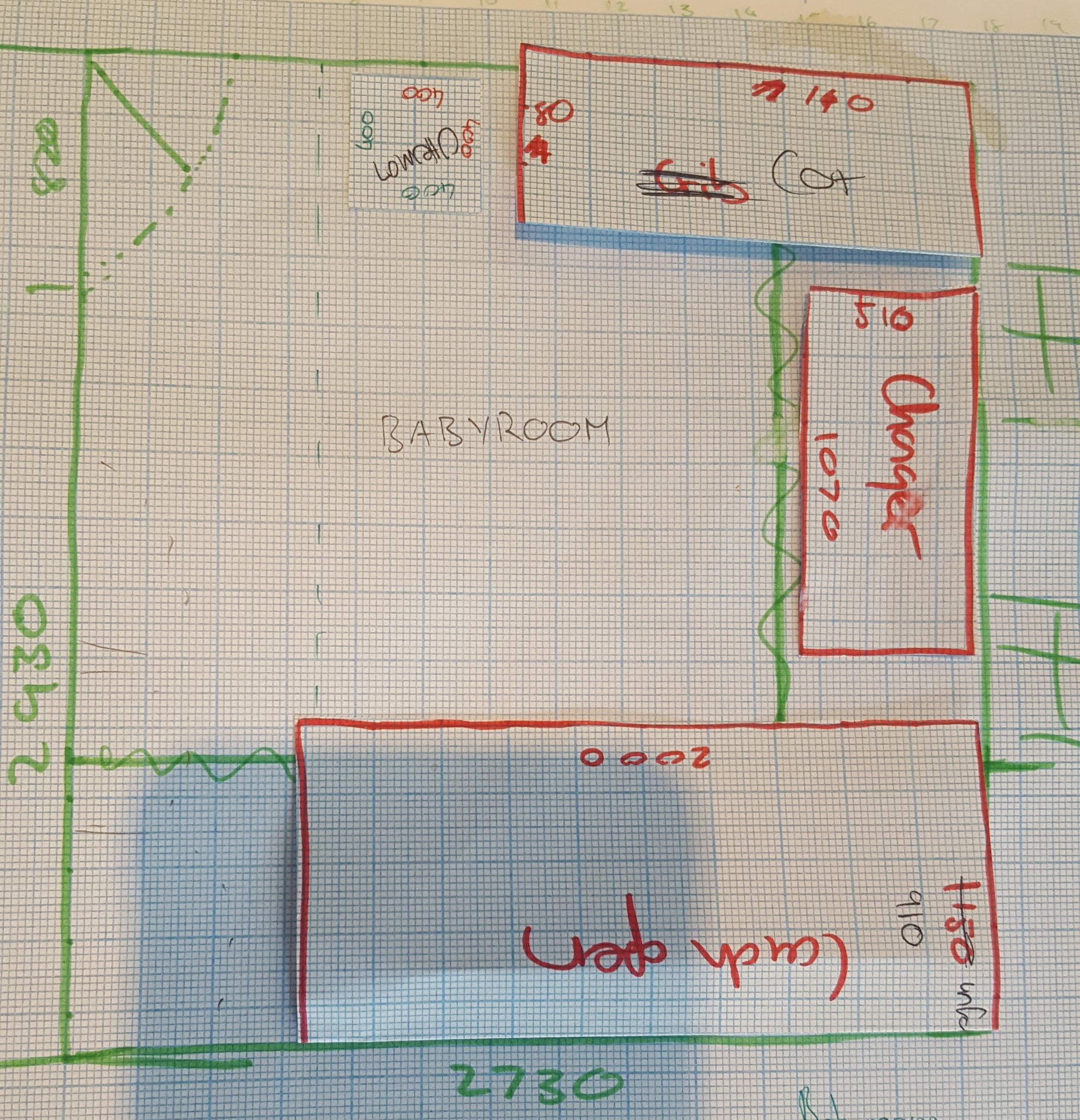 To scale floor plan and layout of the nursery, by Tassels & Tigers Interior design and decor.