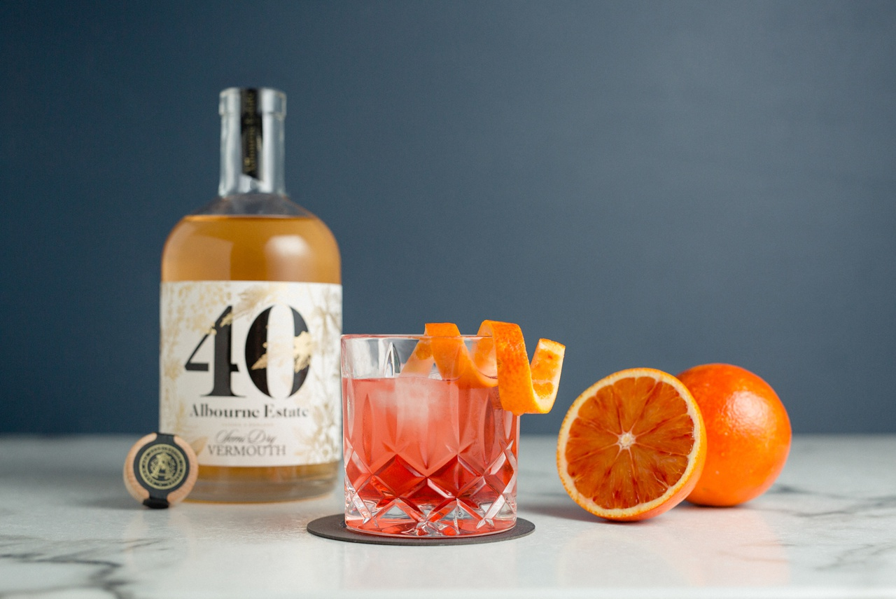 negroni cocktail photographer using Albourne estate vermouth
