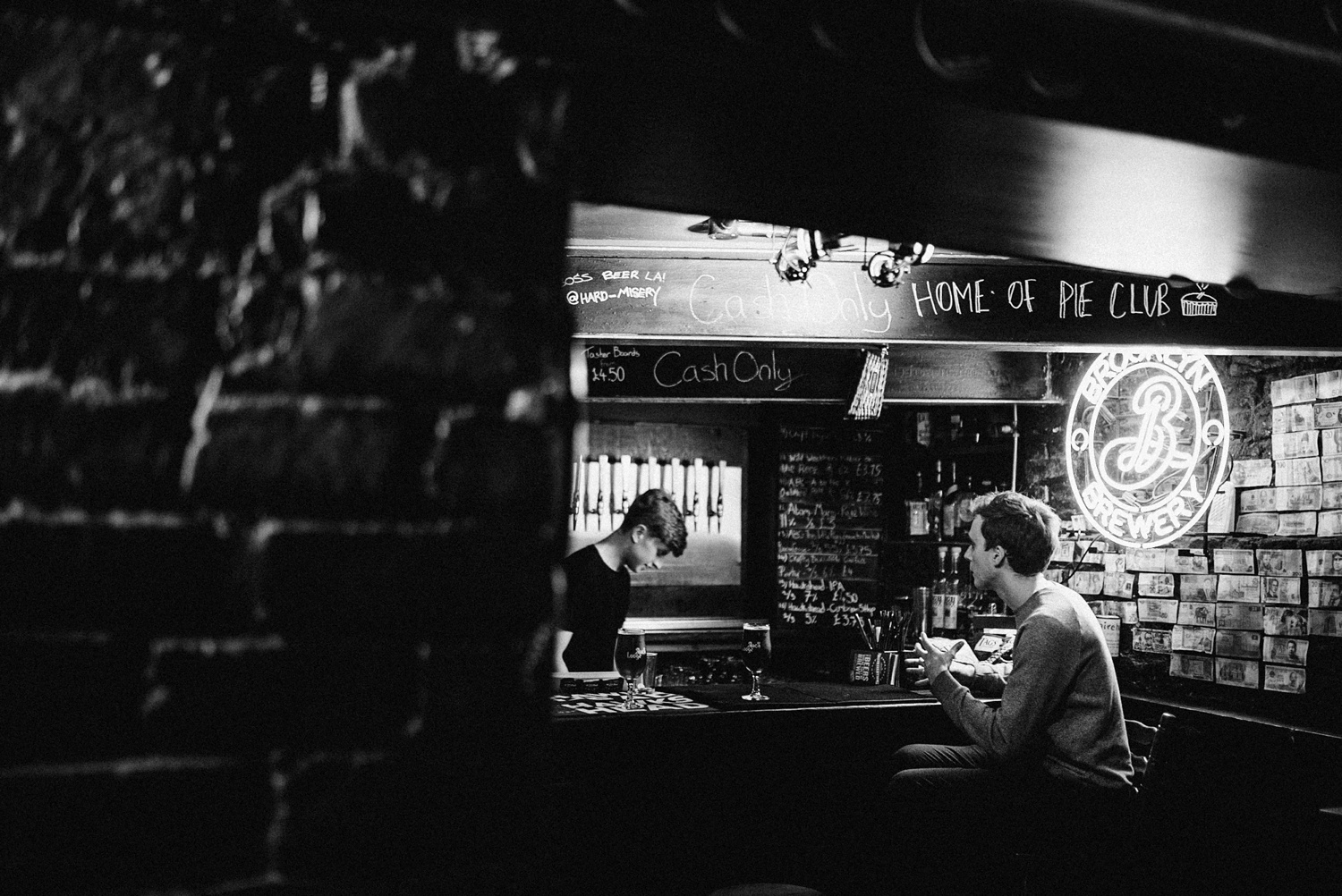 Black and white photo of craft beer bar 23 club in liverpool