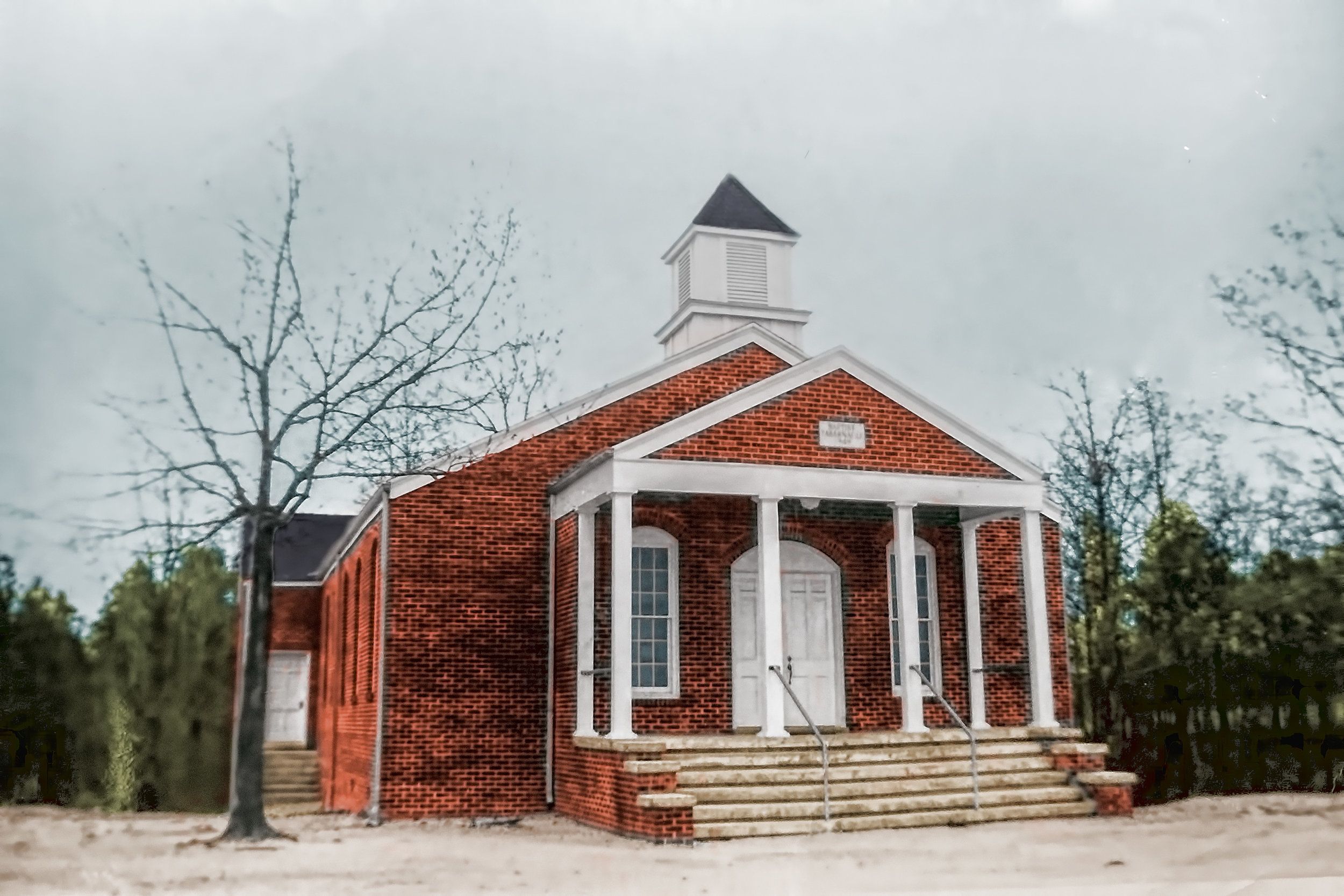 The last worship service in the church built in 1949 was held July 25, 1971.
