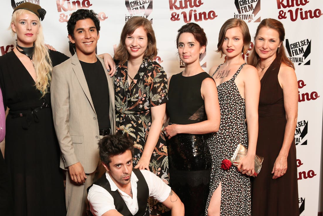 Director Chelsea Kane, DP Edward A. Herrera, Production Designer Roxanne Kratt, Kira Davies, Julia Barrett-Mitchell , Alice Barrett-Mitchell and Matthew Pourviseh at The Chelsea Film Festivals Kino & Vino screening of Behind Some Dark Cloud July 2016.