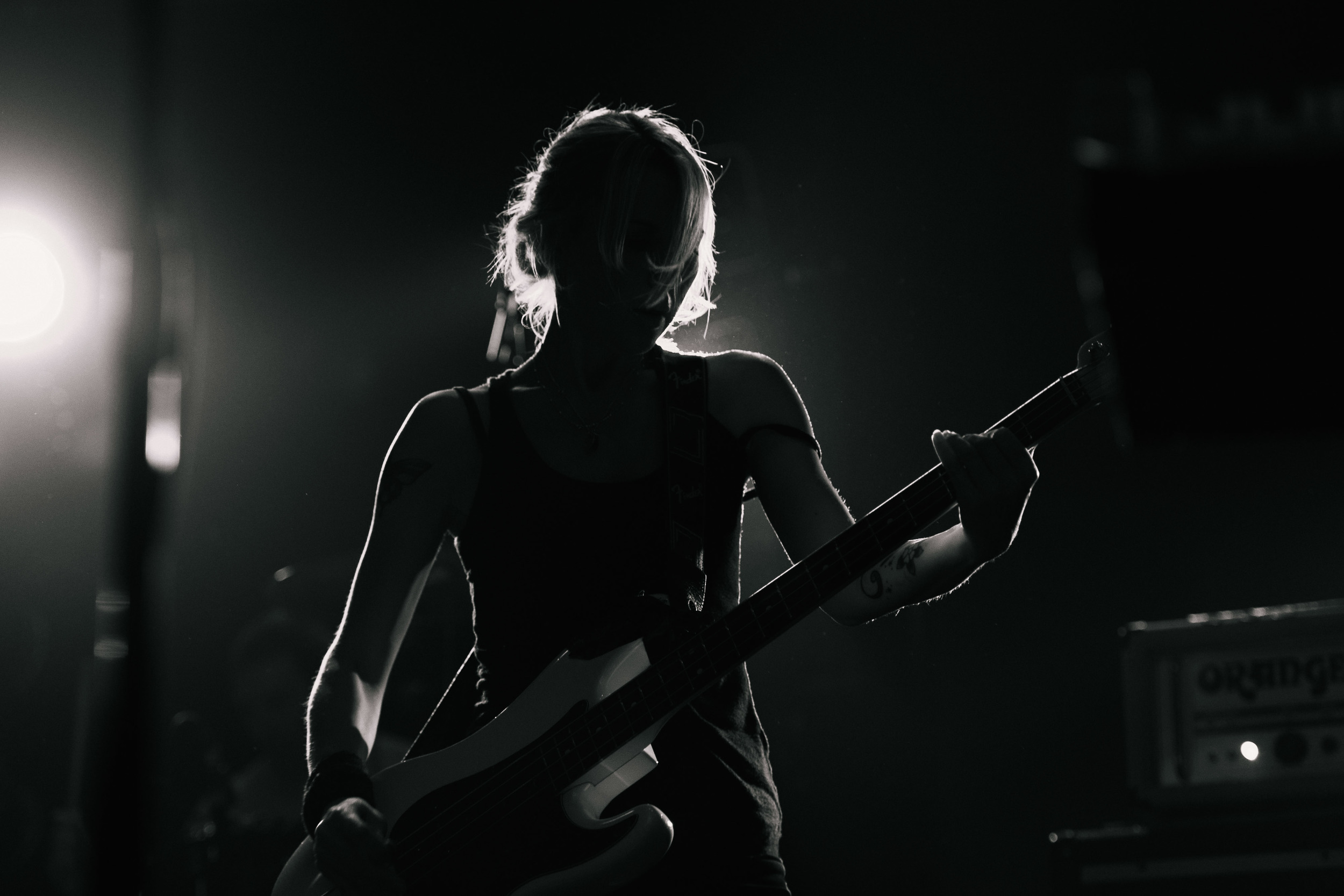 Future Of The Left at The Electric Ballroom - silhouette of Julia Ruzicka
